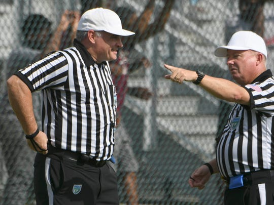 Players from Astronaut, MCC, Holy Trinity and Eau Gallie scrimmage as members of the Mid Coast Officials Association conduct a field clinic Saturday at Astronaut High School.