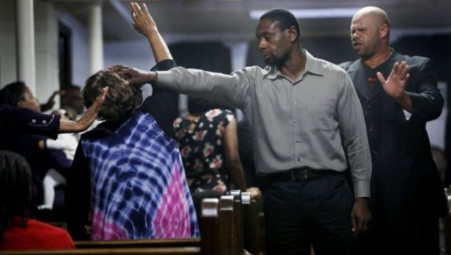"""David Harewood is a faith healer in """"Free In Deed,"""" largely shot at Midtown's Cathedral of God Holy Word Temple."""