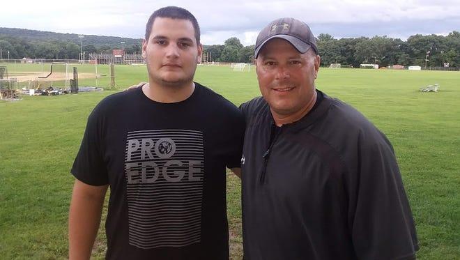 Wayne Hills football coach Wayne Demikoff (right) with senior captain Bence Polgar.