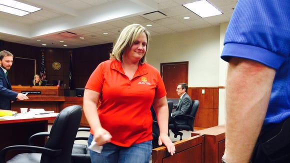 Tina Oakes, an Air Pollution Control District compliance officer, after her testimony in a court hearing on Friday.