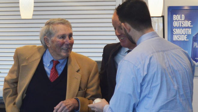 Baltimore Orioles Hall of Famer Brooks Robinson, left, joined Orioles General Manager Dan Duquette for an event at PeoplesBank Park on Tuesday.