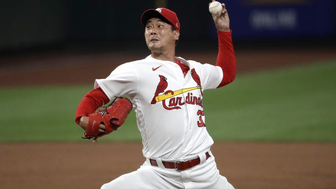 St. Louis Cardinals pitcher Kwang-Hyun Kim throws during the ninth inning of a game against the Pittsburgh Pirates on Friday, July 24 in St. Louis.