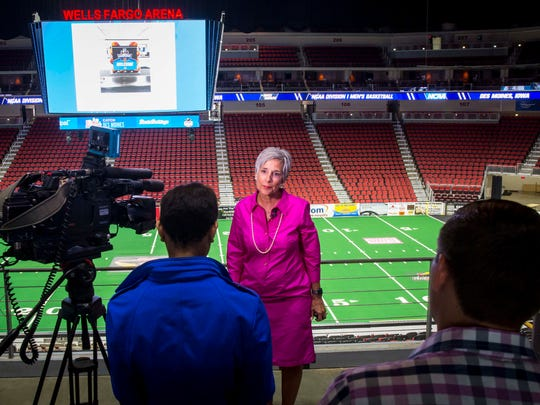 Polk County Supervisor Angela Connolly comments during a press conference Tuesday, April 18, 2017, regarding NCAA Division I Men's Basketball Championships 1st and 2nd Rounds coming to Des Moines in 2019 at Wells Fargo Arena.