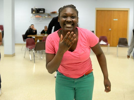 Jeannie Cornet, 12, of York, during a dance and spoken word workshop through the Salvation Army. DAILY RECORD/SUNDAY NEWS - KATE PENN