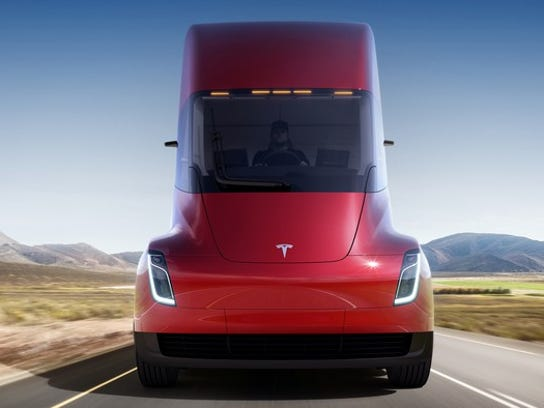 Tesla Semi, recently unveiled by CEO Elon Musk, features not only battery power but also a suite of self-driving features Autopilot features pulled from the company's Model S, X and 3 cars. The truck is still in development but already has orders from a few major trucking companies.
