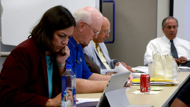 The Battle Creek Tax Increment Finance Authority in a split vote Tuesday decided to not make reimbursement payments to the city's general fund unless allowed under state statute. From left: City Manager Rebecca Fleury, member Rod Christensen, member Mike Rae and TIFA attorney Daryl Mumford.