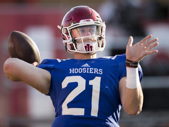 Richard Lagow, quarterback, warms up before the annual