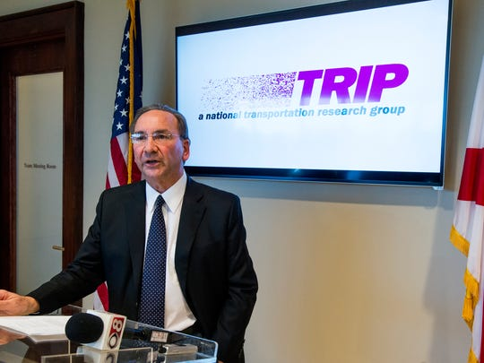 Then-Business Council of Alabama President and CEO William J. Canary speaks as TRIP, a non-profit transportation research group, releases the Top 50 transportation projects needed to support economic growth and quality of life in Alabama during a news conference in Montgomery on Thursday Feb. 11, 2016.