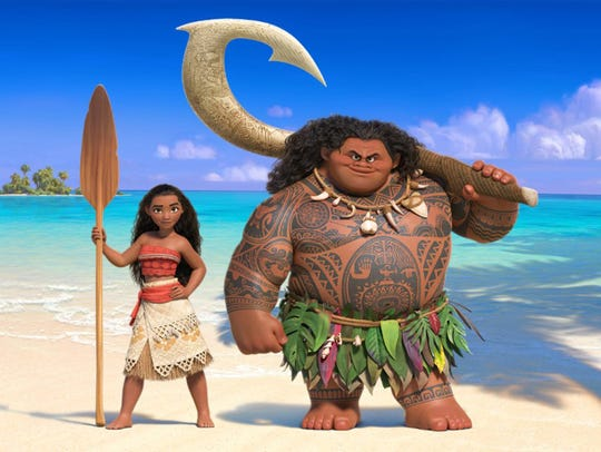 "Moana, left, and Maui in ""Moana,"" the Disney movie"