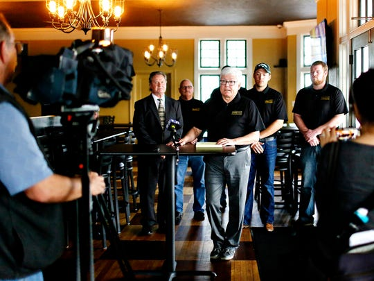 Former York County Commissioner and Brewvino Owner Steve Chronister talks about Brewvino, LLC., taking over ownership of Grandview Golf Course, formerly owned by Jane and Doug Barton, of Codorus Township, during a press conference at the golf club in Dover Township, Wednesday, March 1, 2017. Dawn J. Sagert photo