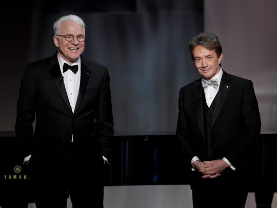 Steve Martin (L) and Martin Short speak onstage during