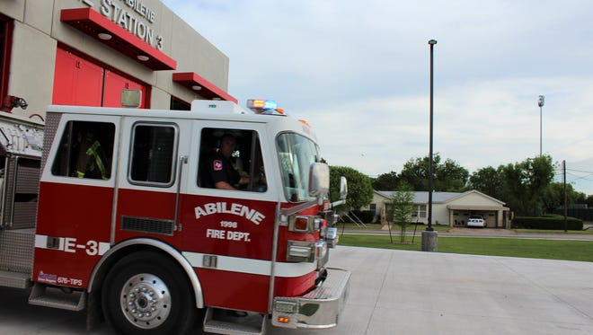 The Abilene Fire Department has received a $1.8 million grant to add firefighters to Station 8 in south Abilene. Here a fire truck is shown leaving Station 3 in central Abilene.