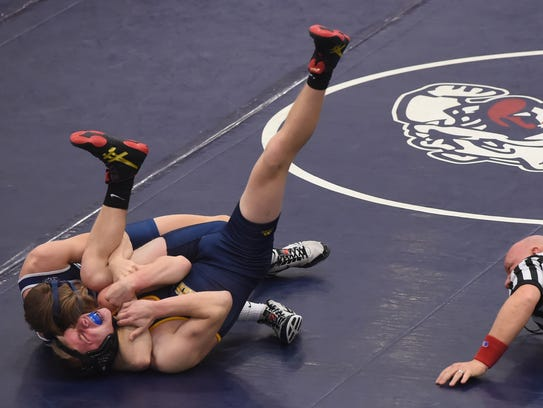 West York's Luke Stine pins Eastern York's Dillon Mealey