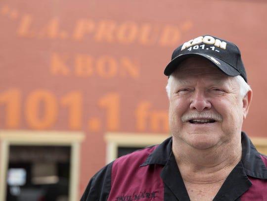 Owner Paul Marx outside KBON studios in Eunice Weds.,