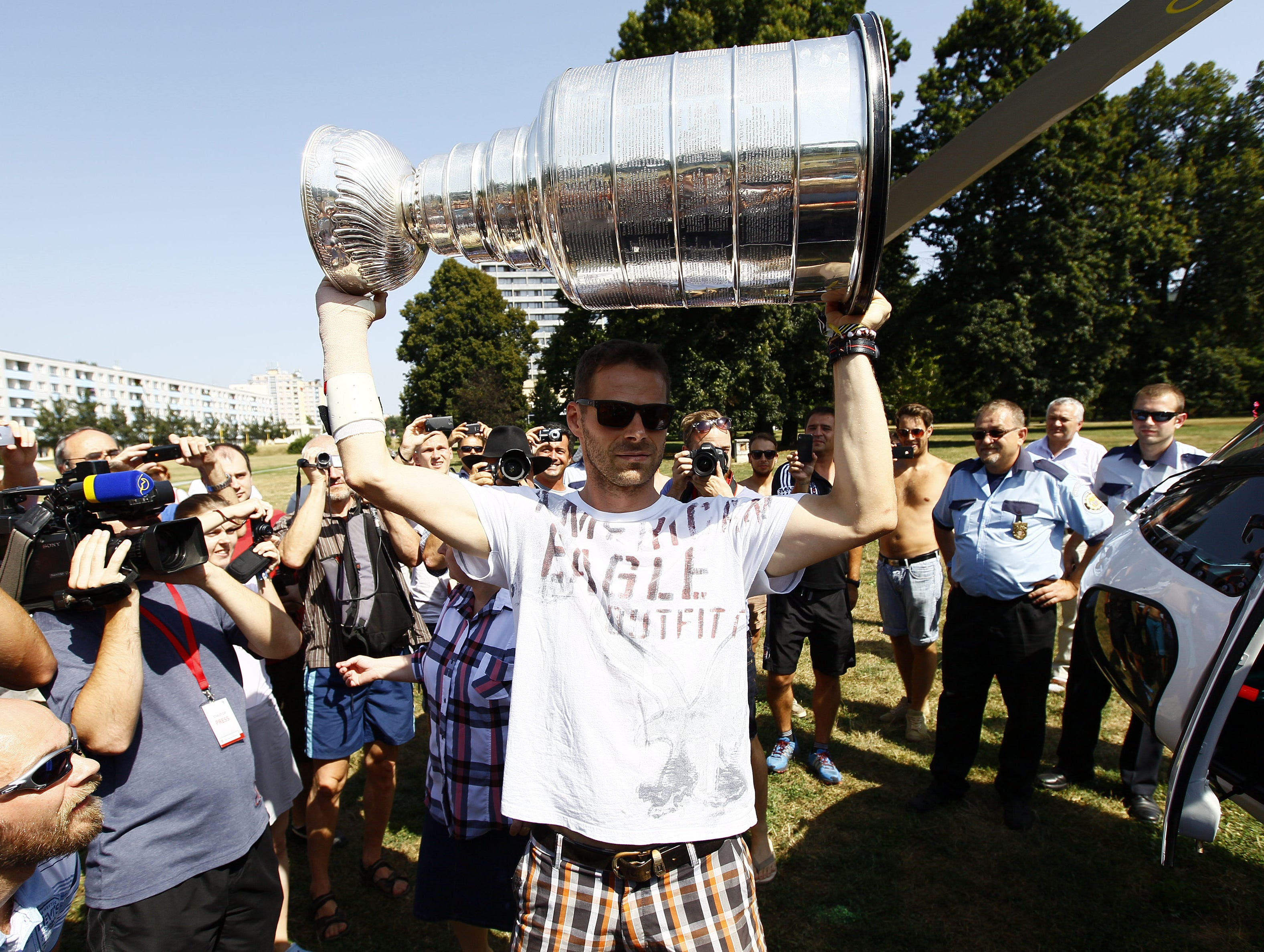 Aug. 8: Michal Handzus shows off the Stanley Cup after arriving in his hometown of Banska Bystrica, Slovakia.