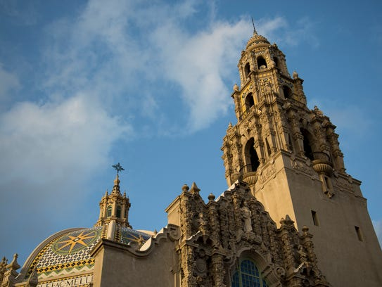 Sunset light hits the Museum of Man at Balboa Park
