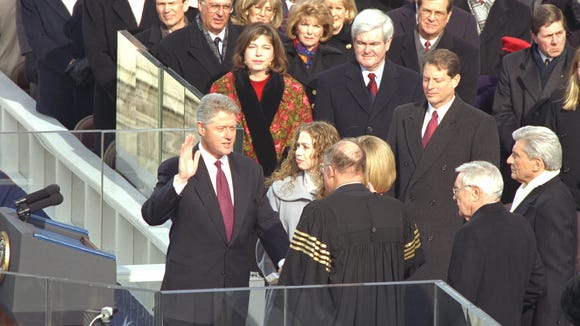 Sen. Wendell Ford, D-Ky., just to the right of Chief Justice William Rehnquist, witnesses second inauguration of President Bill Clinton.