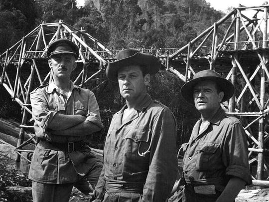 """""""The Bridge on the River Kwai"""" (1957) won seven Oscars. It stars Alec Guinness (from left), William Holden and Jack Hawkins."""