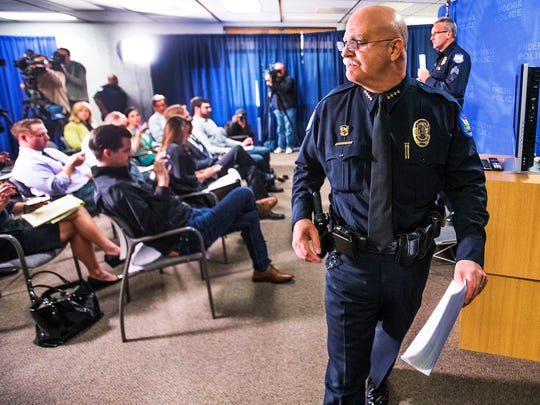 Phoenix Police Chief Daniel Garcia leaves without taking questions after holding a press conference that ultimately cost him his job.
