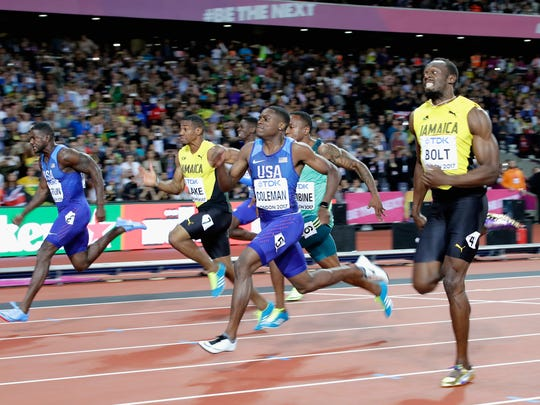LONDON, ENGLAND - AUGUST 05:  Justin Gatlin (left) of the United States leads the Men's 100 metres final from Christian Coleman of the United States and Usain Bolt of Jamaica (right) during day two of the 16th IAAF World Athletics Championships London 2017 at The London Stadium on August 5, 2017 in London, United Kingdom. Gatllin won in a time of 9.92 seconds  (Photo by Andy Lyons/Getty Images for IAAF)