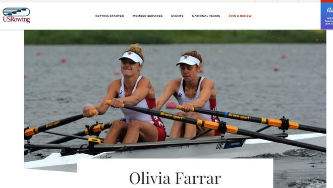 A screenshot of Olivia Farrar's page on the USRowing website.