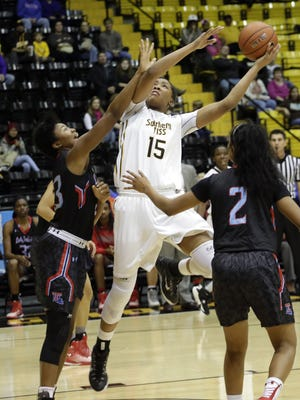Southern Miss player Caitlin Jenkins (15) shoots during the Golden Eagles' game against Louisiana Tech.