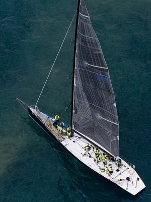 Ocean, of Chicago Yacht Club, competes in Class A during the start of the Port Huron-to-Mackinac Island sailboat race July 18, 2015, on Lake Huron.