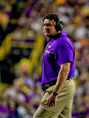 Oct 22, 2016; Baton Rouge, LA, USA; LSU Tigers head coach Ed Orgeron looks on against the Mississippi Rebels during the second half of a game at Tiger Stadium. LSU defeated Mississippi 38-21. Mandatory Credit: Derick E. Hingle-USA TODAY Sports