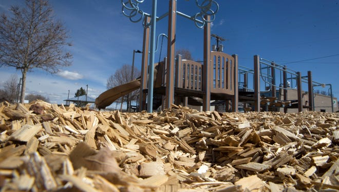 The city of Farmington Parks, Recreation and Cultural Affairs has added engineered wood fiber to help children with disabilities as pictured on Monday at the playground at the Farmington Indian Center.