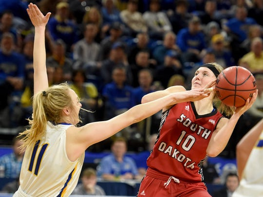USD's Allison Arens shoots over SDSU's Madison Guebert
