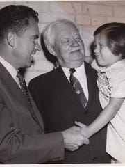 Then-Vice President Richard M. Nixon visits with former Delaware Gov. and U.S. Sen. John G. Townsend Jr. at Townsend's 86th birthday in Selbyville in 1957.