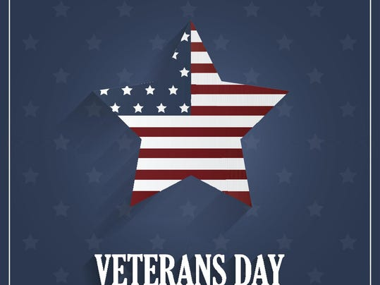 Veterans Day poster on blue background with star