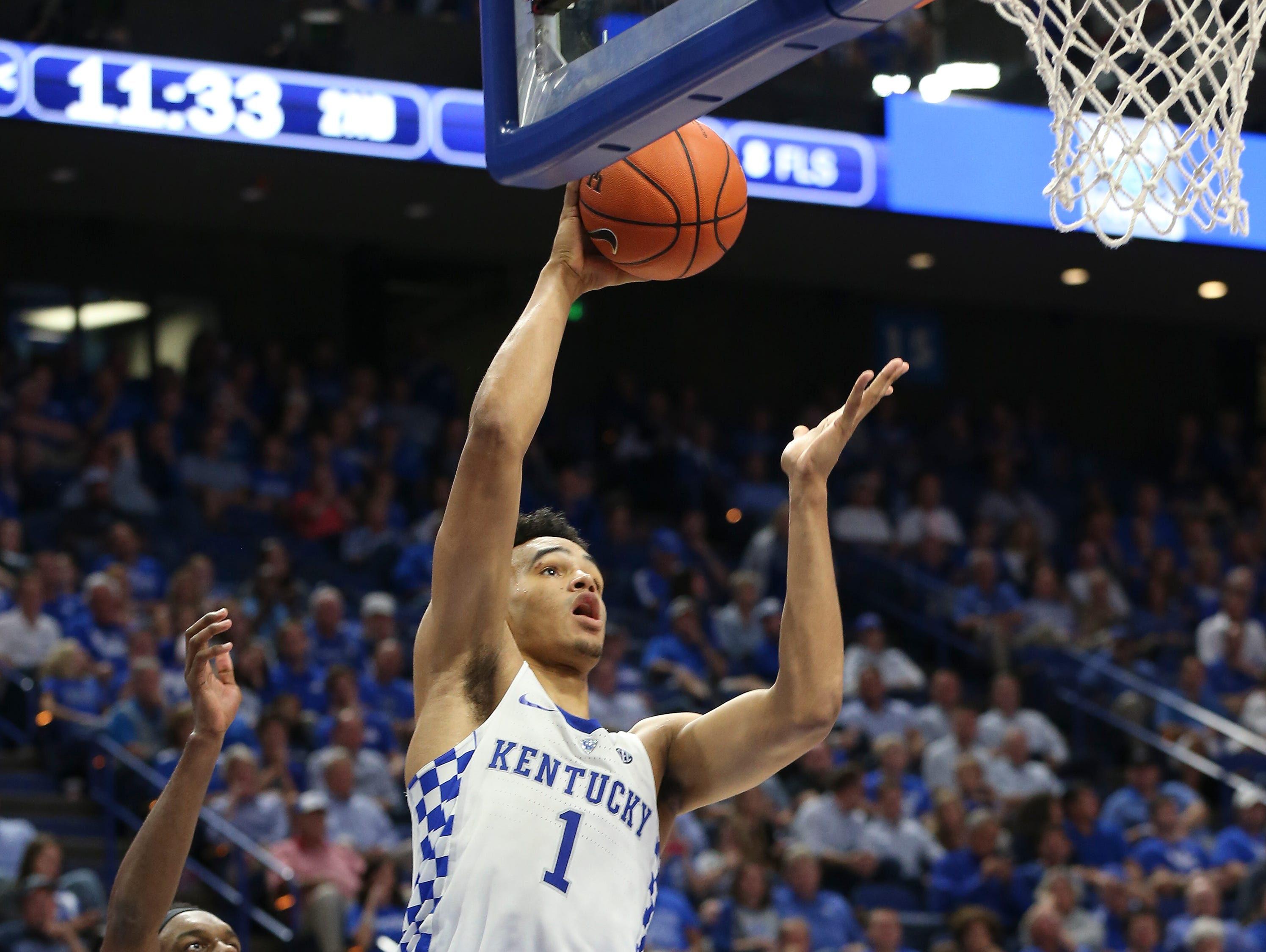 UK's Sacha Killeya-Jones (1) scores on a put back against Clarion during their game at Rupp Arena. Oct. 30, 2016