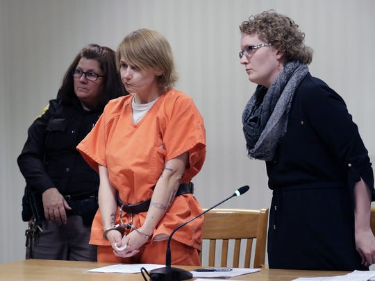 Dana L. Nachtrab, 27, of the town of Deer Creek appears in front of Court Commissioner Brian G. Figy with Alaina Fahley, assistant state public defender, Monday at the Outagamie County Justice Center in Appleton.