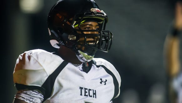 Sussex Tech running back Timuan Williams (1) smiles
