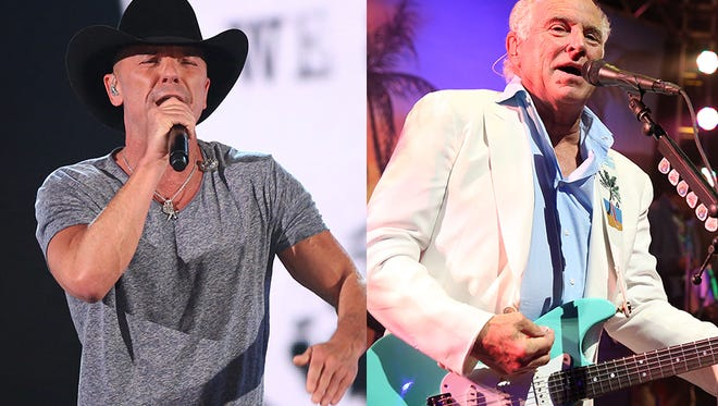 Kenny Chesney (left) and Jimmy Buffett
