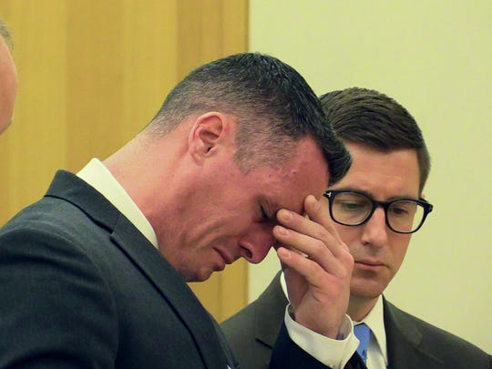 Erik Refvik breaks down while making a statement before his sentencing by Judge Barry Warhit at the Westchester County Courthouse in White Plains Sept. 25, 2015. Refvik is the White Plains firefighter who killed a woman in a drunken wrong-way crash.