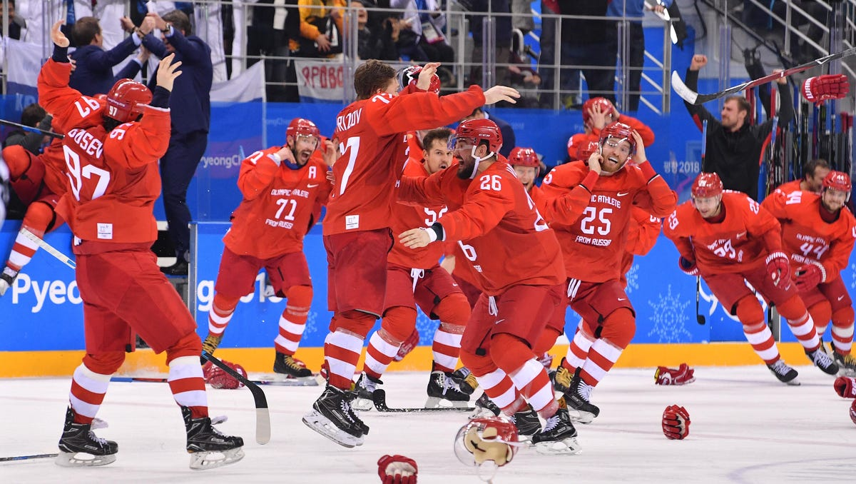 Olympic Athletes from Russia beat Germany in overtime for men's Olympic hockey gold medal
