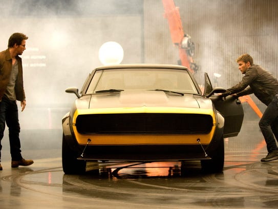 Actors Mark Wahlberg and Jack Reynor filming of Transformers: Age of Extinction in GM Design Dome in Warren in June 2013. In the center is Bumblebee, a highly modified, vintage 1967 Camaro SS.