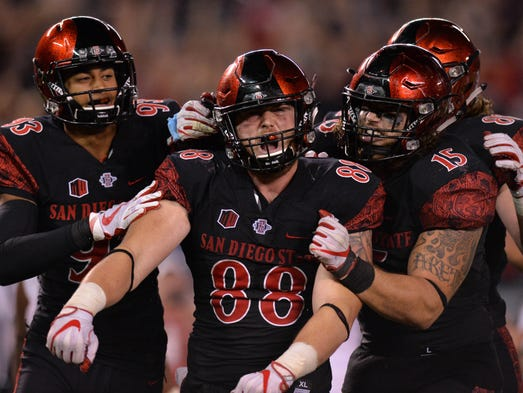 San Diego State tight end David Wells celebrates with