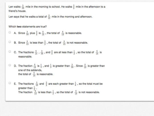 Sample question from the Grade 5 PARCC math test. Tweet