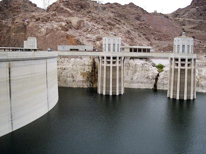 Intake towers for water at the Hoover Dam where the