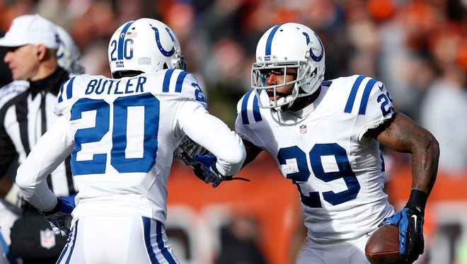 Mike Adams #29 celebrates his interception with Darius Butler #20 of the Indianapolis Colts against the Cleveland Browns at FirstEnergy Stadium on Dec. 7, 2014 in Cleveland, Ohio.