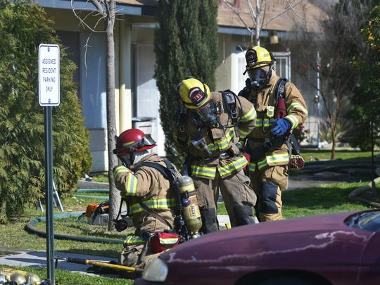 Firefighters were called just after 11:30 a.m. to the apartment complex in the 3900 block of West Tulare Avenue. The fire started in the attic of the 10-unit wing and quickly moved through the units.
