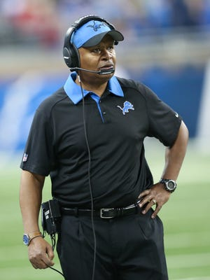 Detroit Lions head coach Jim Caldwell on the sidelines during second half action against the San Francisco 49ers  Sunday, December 27, 2015 at Ford Field in Detroit, Michigan.