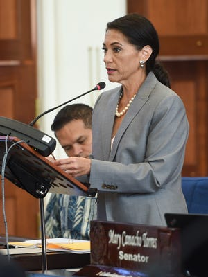 Sen. Mary Camacho Torres discusses Bill No. 38-34 (LS) during a session at the Guam Congress Building in Hagåtña on July 24, 2017.
