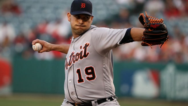 Tigers pitcher Anibal Sanchez throws during the first inning Tuesday in Anaheim, Calif.