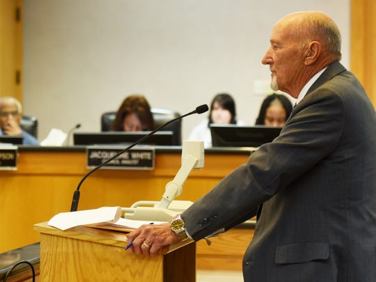 Attorney Bobby Sutton, Sr. at the city council meeting