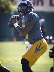 ASU quarterback Dillon Sterling-Cole gets ready to throw a pass during spring practice at ASU's Kajikawa practice fields on March 20, 2018 in Tempe, Arizona.