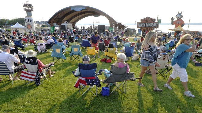 Fans listen to music during an 8 Great Tuesdays concert at Liberty Park's Highmark Amphitheater in 2017. The series was canceled for 2020 because of COVID-19 concerns.